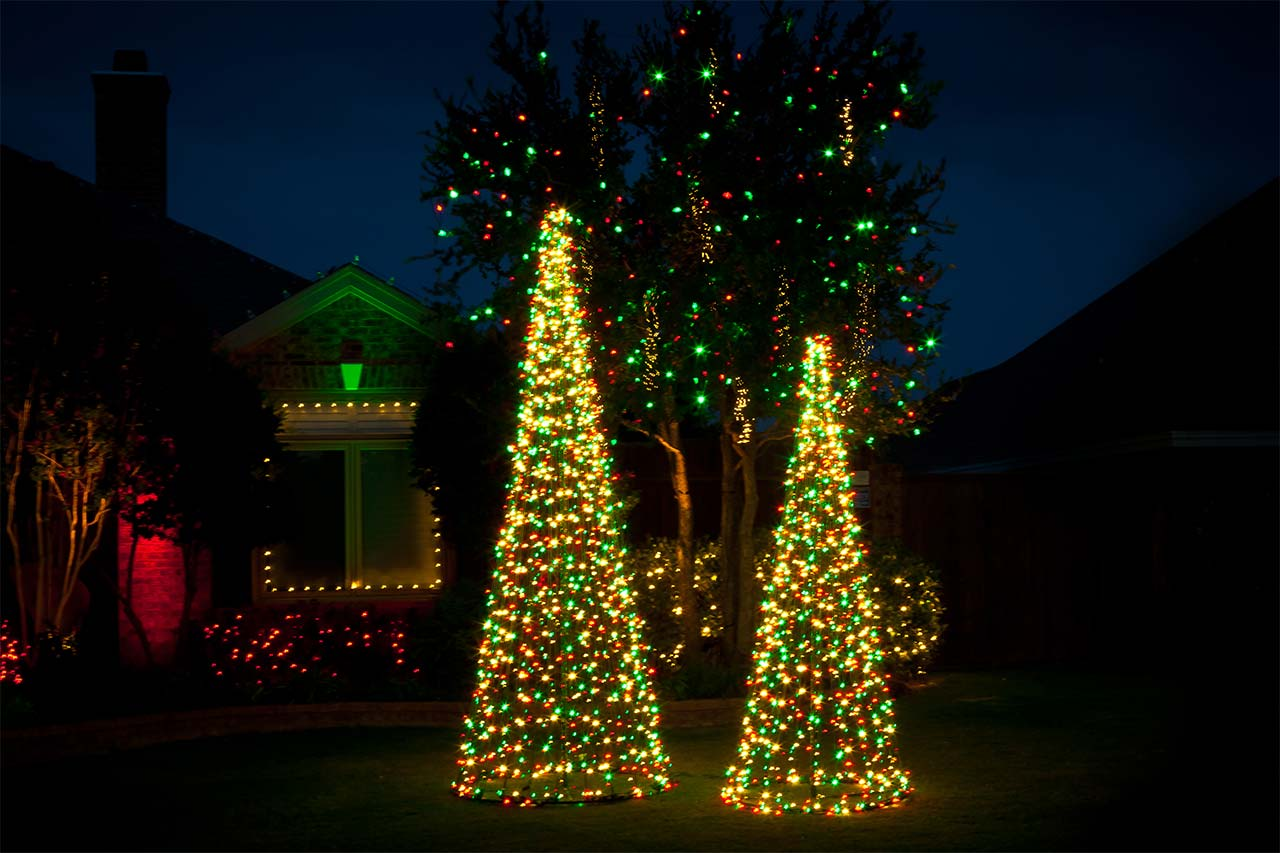 Residential Outdoor Lighted Christmas Trees